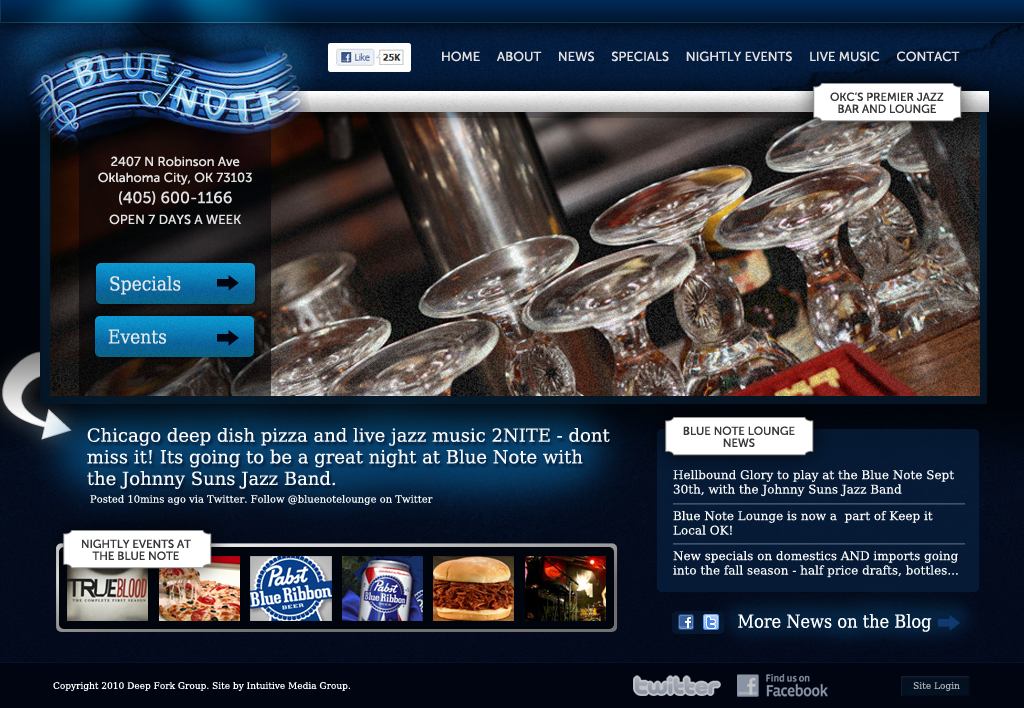 The Blue Note Lounge OKC Web Design by Ingage Creative