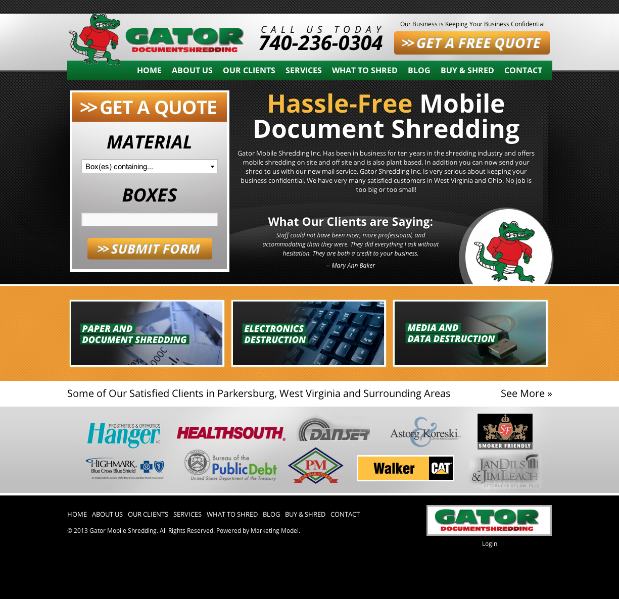 Gator Mobile Shredding Business Website Oklahoma City