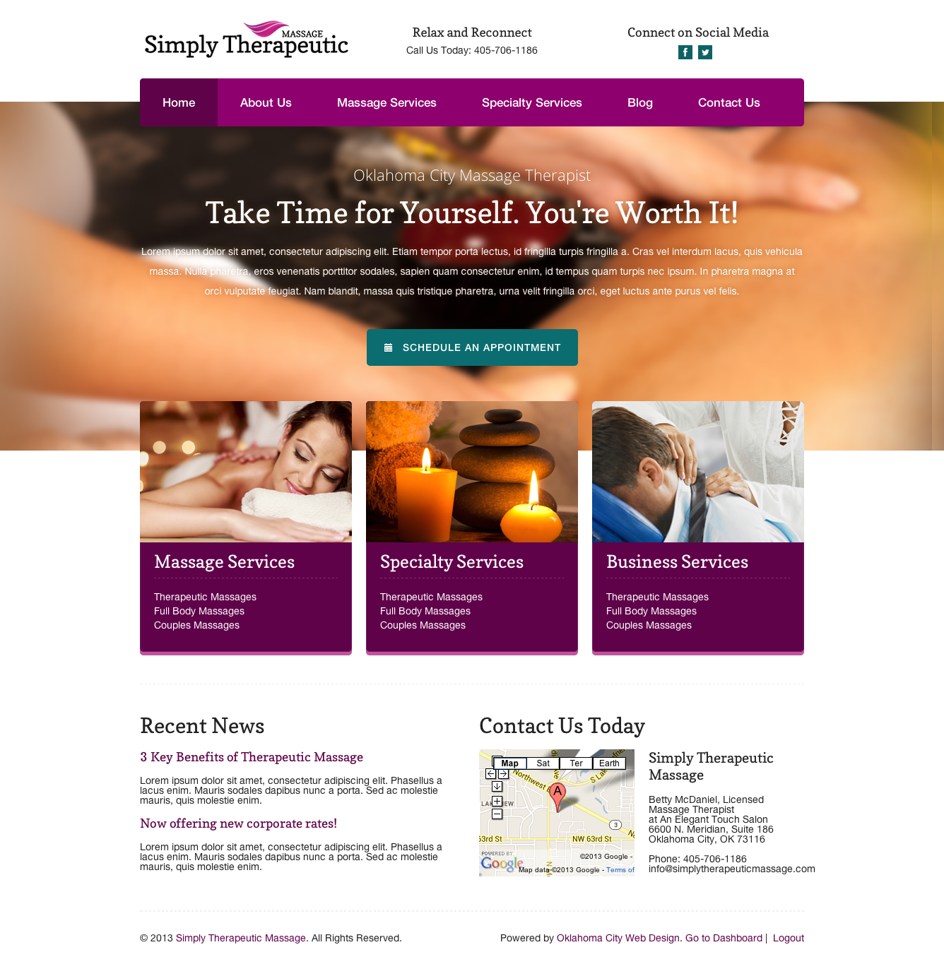 Simply Therapeutic Massage Web Design Oklahoma City